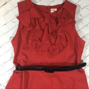 Red sleeveless ruffle front dress dress